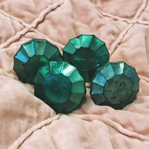 Anthropologie Seafoam Mirrored Glass Green Knobs